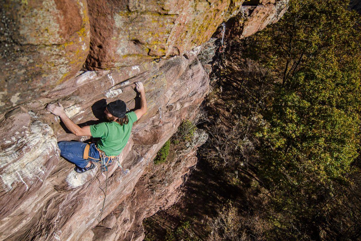 Sean Villanueva O'Driscoll climbing at Ivo Ninov's Stone Ranch, Gubislav, Bulgaria