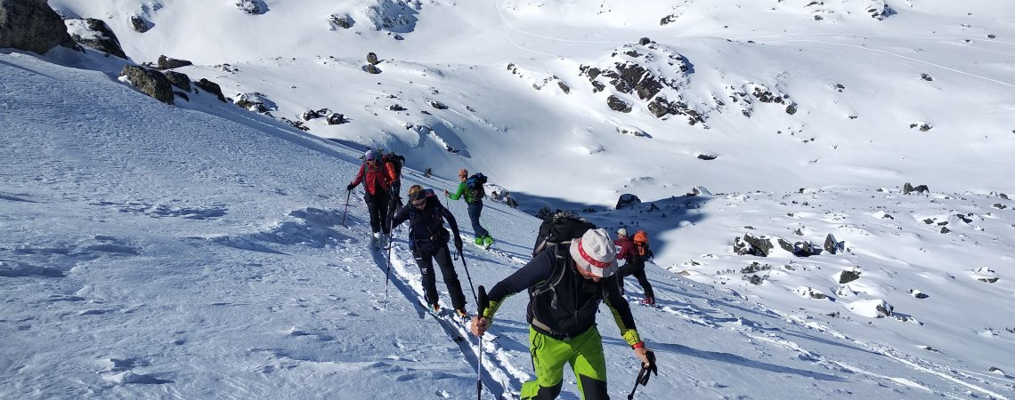 Backcountry skiing at Seven Rila Lakes, Bulgaria