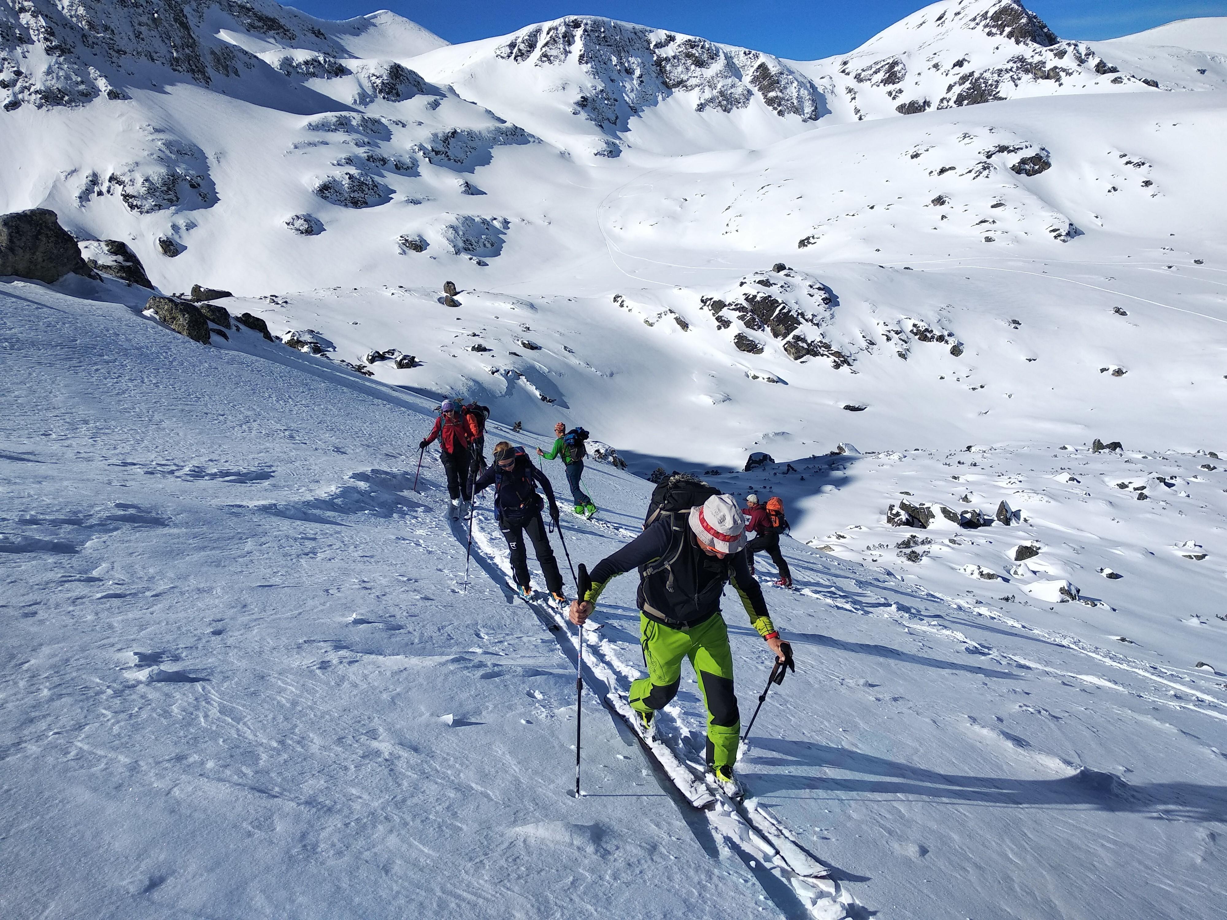 Backcountry skiing at Seven Rila Lakes, Bulgaria